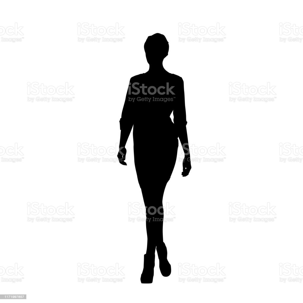 Woman Walking Forward Isolated Vector Silhouette Slim Body