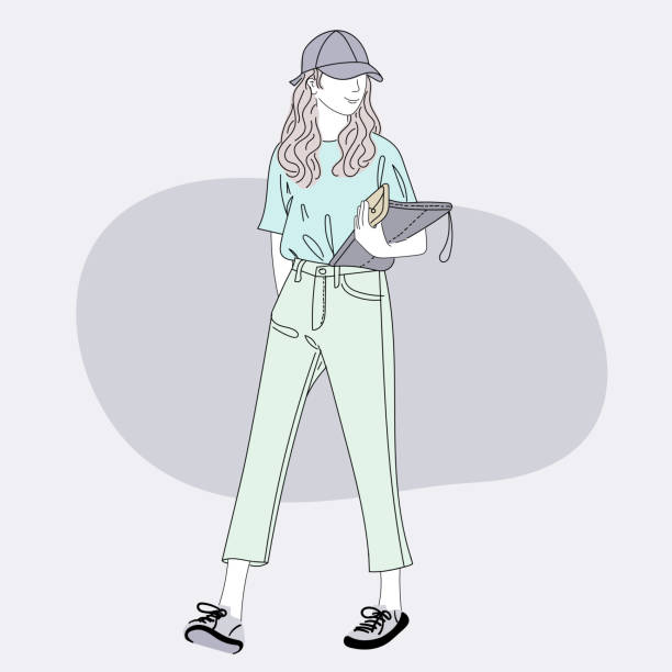 Woman walking in the middle of the city road to work.She tried to walk to work on time.Doodle art concept,illustration painting vector art illustration