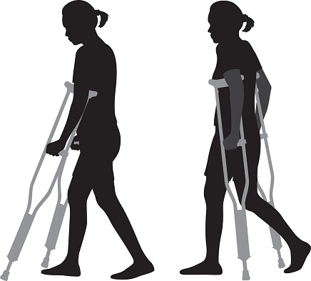 Woman Walking on Crutches Silhouettes