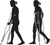 Vector silhouettes of a woman walking with crutches.