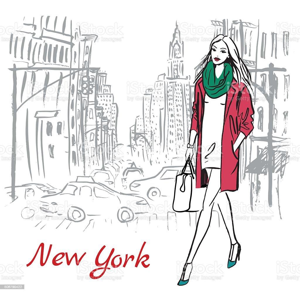 woman walking on street vector art illustration