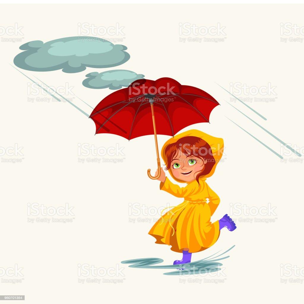 Woman Walking Rain With Umbrella Hands Raindrops Dripping Into ...