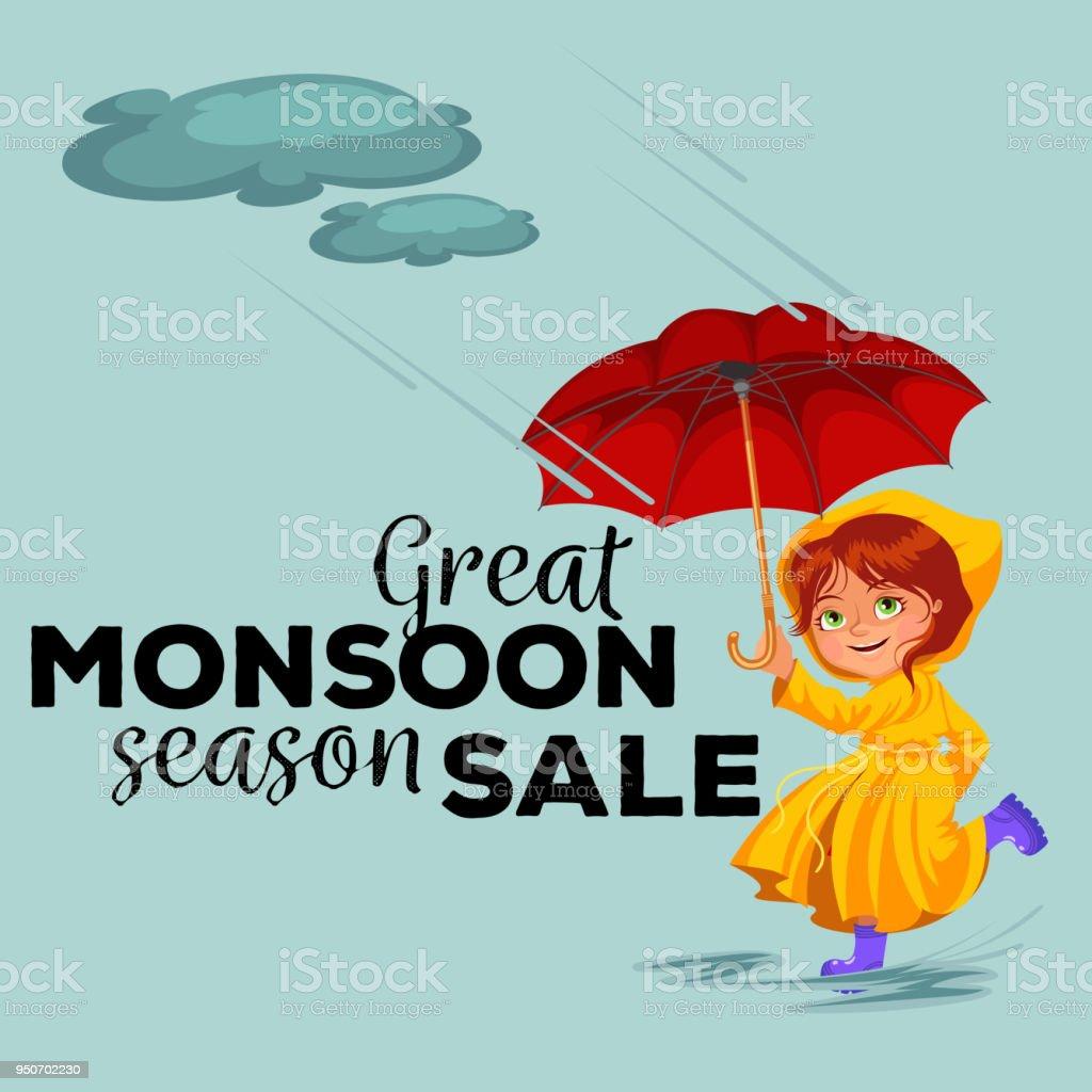süßes Mädchen Regenschirm in der Regenzeit - Download Kostenlos Vector,  Clipart Graphics, Vektorgrafiken und Design Vorlagen