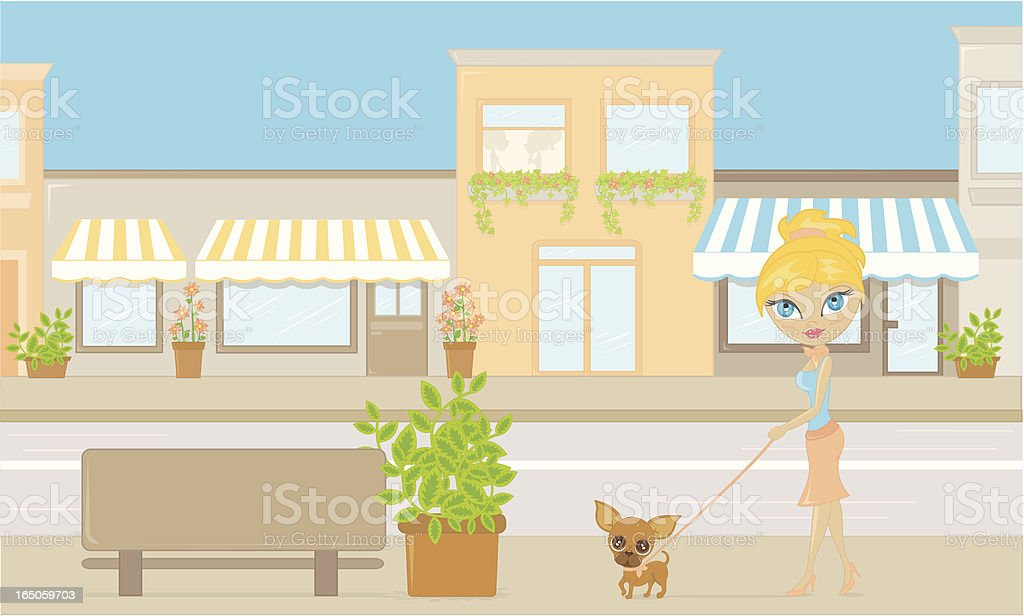 Woman Walking Small Dog in Town royalty-free stock vector art