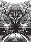 pen and ink style illustration of one young woman walking toward heart shaped tree and crossing bridge to romance.