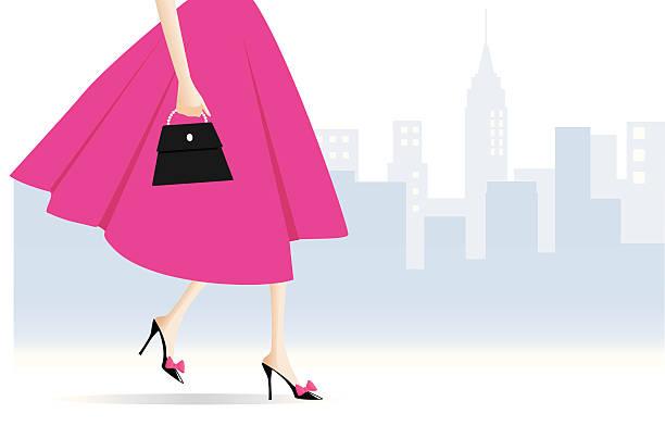 Woman Walking vector art illustration