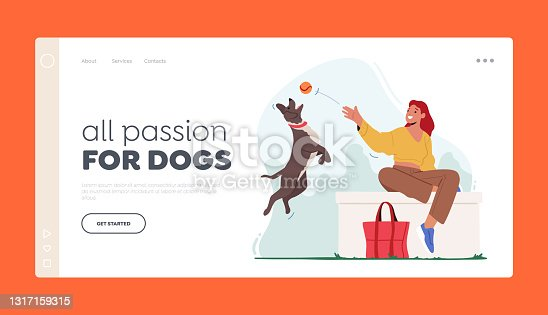 Woman Walking with Dog Landing Page Template. Female Character Playing Ball with Pet Spending Time at Summertime Park