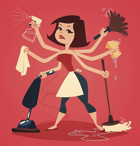 illustrazioni stock, clip art, cartoni animati e icone di tendenza di donna lavaggio e la pulizia. serie famiglia di illustrazione vettoriale. - cameriera