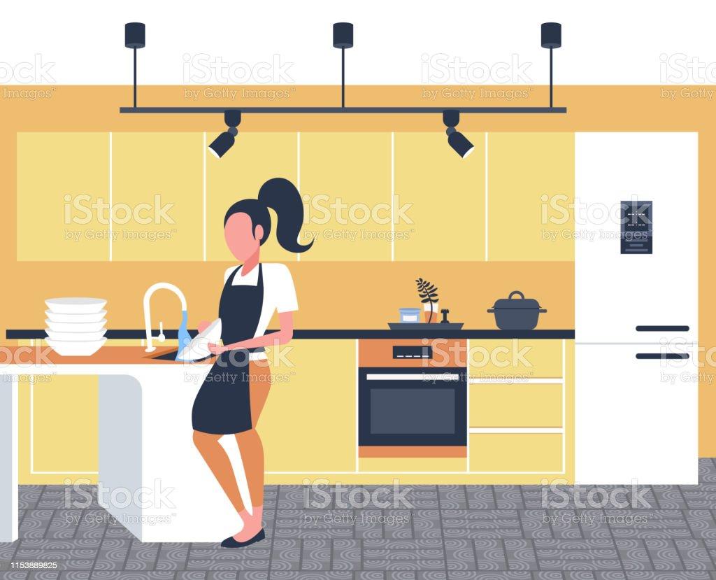 Nettoyer Interieur Lave Vaisselle femme laver vaisselle ménagère nettoyage assiettes concept