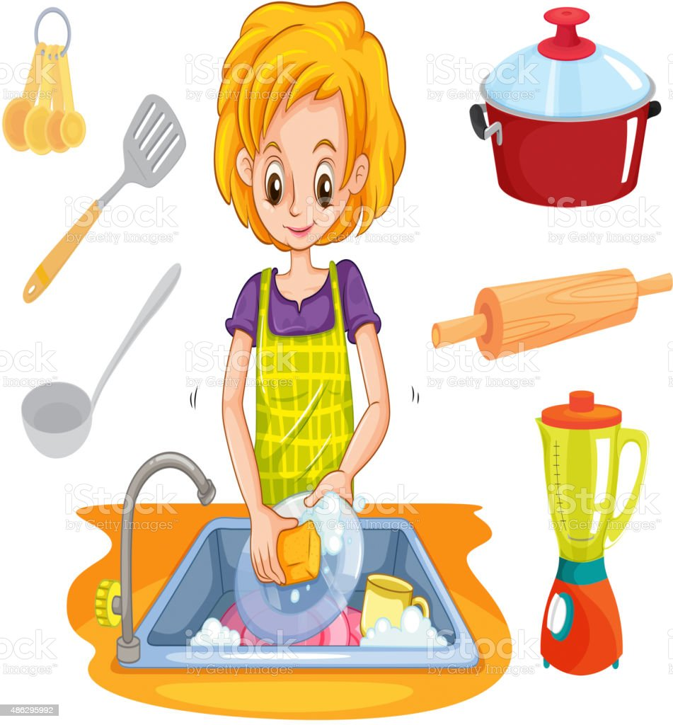 Woman Washing Dishes Sink Stock Vector Art & More Images ...