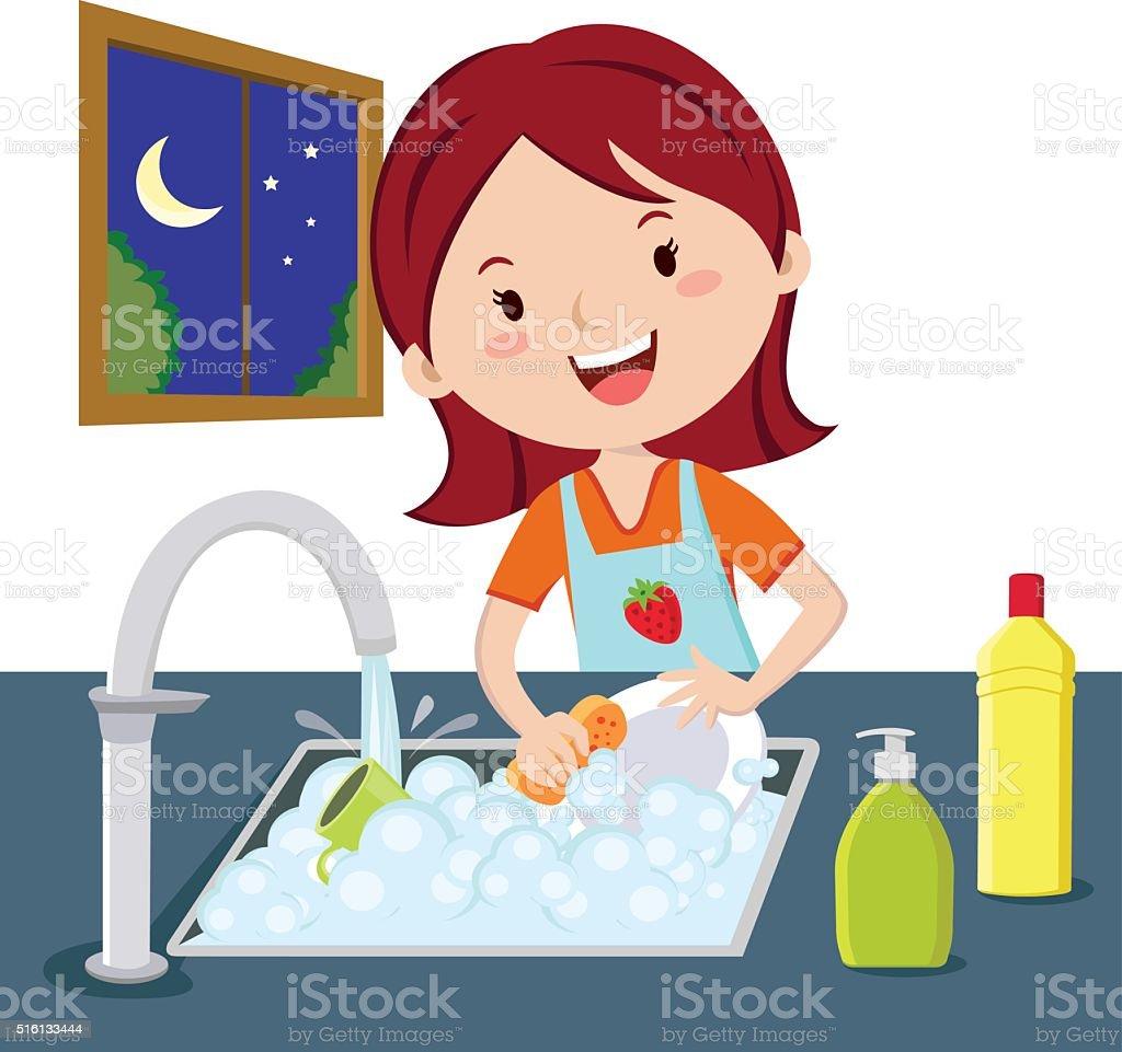 Woman washing dishes vector art illustration