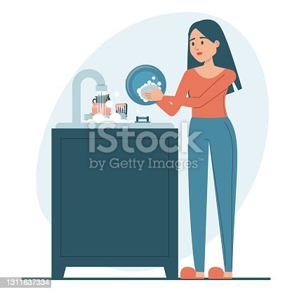 istock Woman washing dishes vector isolated. Everyday routine 1311637334