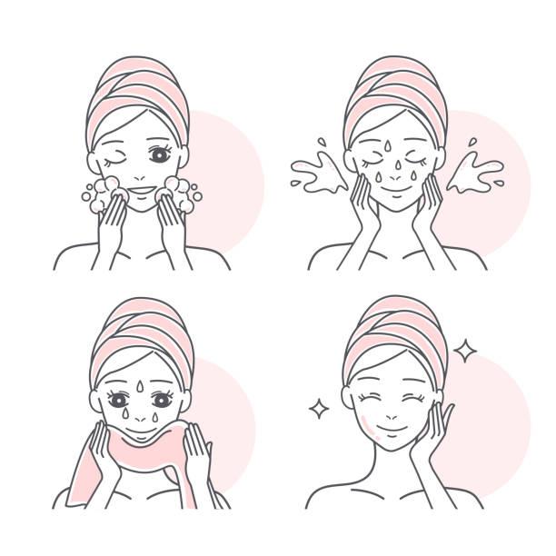 ilustrações, clipart, desenhos animados e ícones de mulher que lava sua face - limpando rosto