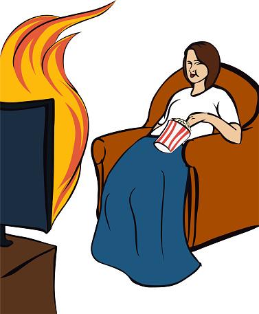 Woman watching a flaming TV