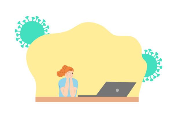 stockillustraties, clipart, cartoons en iconen met vrouw die film van laptop let en thuis voor bescherming tegen coronavirusbesmetting blijft - avondklok