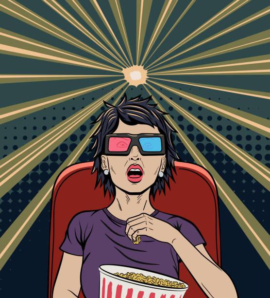 frau beobachtete film pop art poster - markenbrillen stock-grafiken, -clipart, -cartoons und -symbole