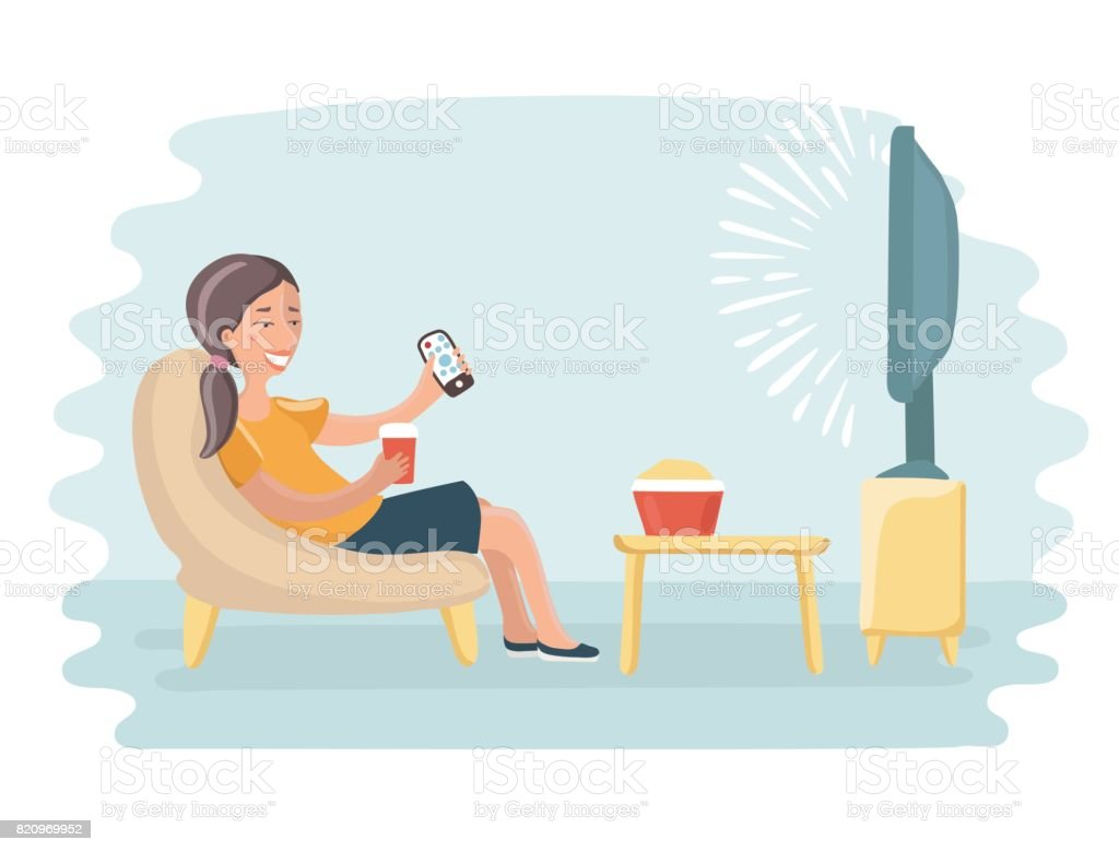 Woman Watching Television Armchair And Sitting In Chair Drinking Stock Illustration Download Image Now Istock