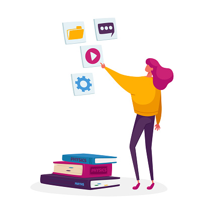 Woman Watching Video Course, Online Lesson or School Webinar. Student Distant Learning, Study in University or College