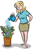 A woman waters a potted plant with a watering can.