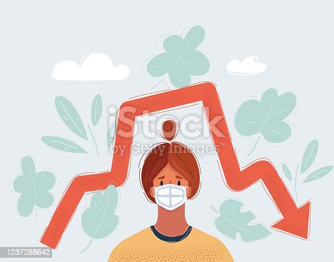 Cartoon vector illustration of woman wearing a face mask, showing red arrow moving down, recession process in the economy. Pandemi , cepidemic worldwide falling indicators.
