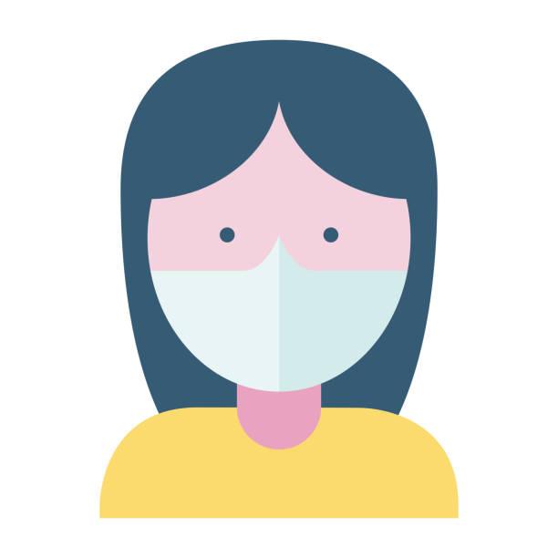 frau trägt eine gesichtsmaske - ffp2 maske stock-grafiken, -clipart, -cartoons und -symbole