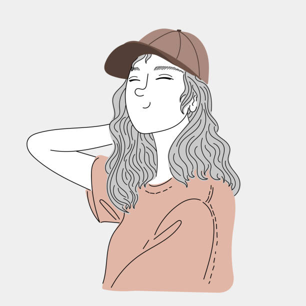 Woman wearing a hat to travel.Doodle art concept,illustration painting vector art illustration