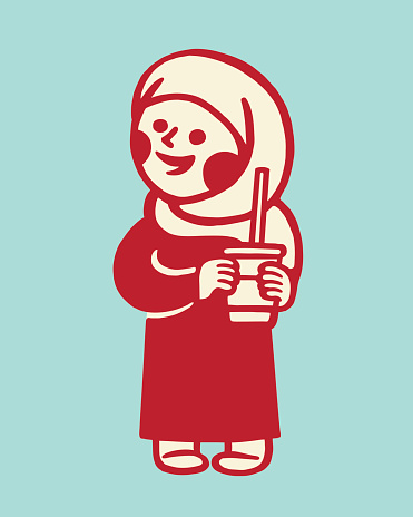 Woman Wearing a Hijab Holding a Drink