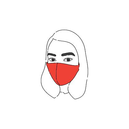 A woman wearing a protective mask. Line Art Portrait.