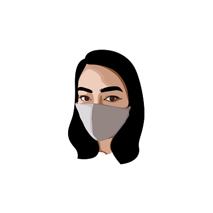 A woman wearing a protective mask.