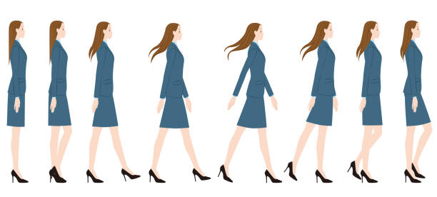 a woman wearing a suit wearing high heels. - wysokie obcasy stock illustrations