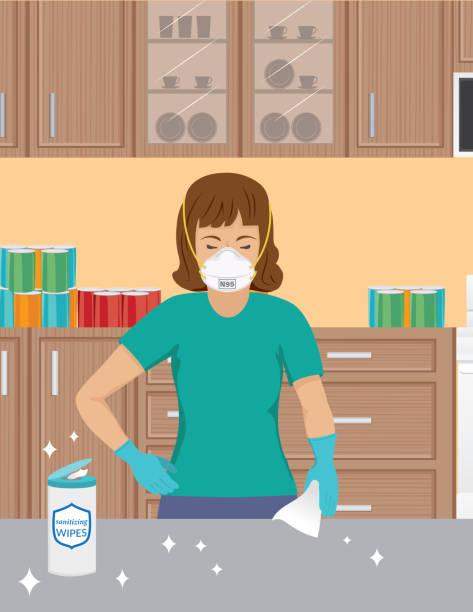 stockillustraties, clipart, cartoons en iconen met vrouw die een masker n95 draagt dat haar teller schoonmaakt - vrouw schoonmaken