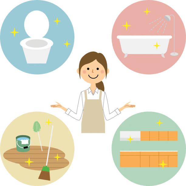 bildbanksillustrationer, clip art samt tecknat material och ikoner med kvinna iklädd förkläde, fräscha upp - japanese bath woman