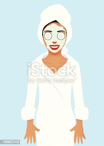 istock Woman wearing bath robe and beauty treatment 165607415