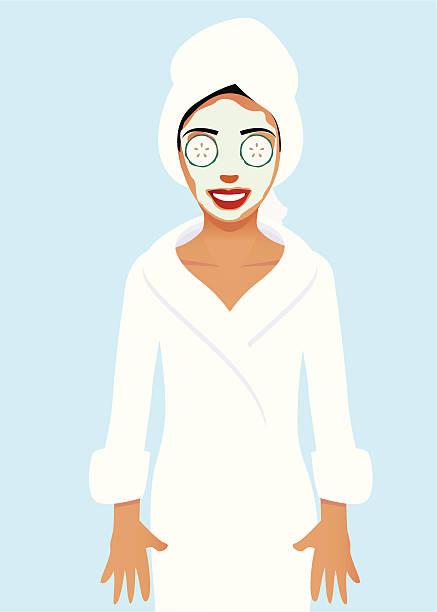 Woman wearing bath robe and beauty treatment vector art illustration