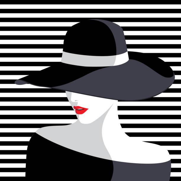 ilustraciones, imágenes clip art, dibujos animados e iconos de stock de mujer vistiendo sombrero grande - moda de mujer