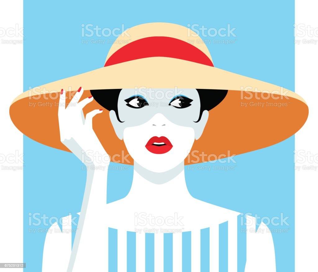 Mujer vistiendo sombrero grande - ilustración de arte vectorial