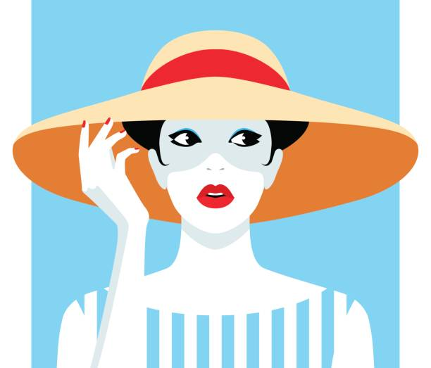woman wearing big hat - preppy fashion stock illustrations, clip art, cartoons, & icons