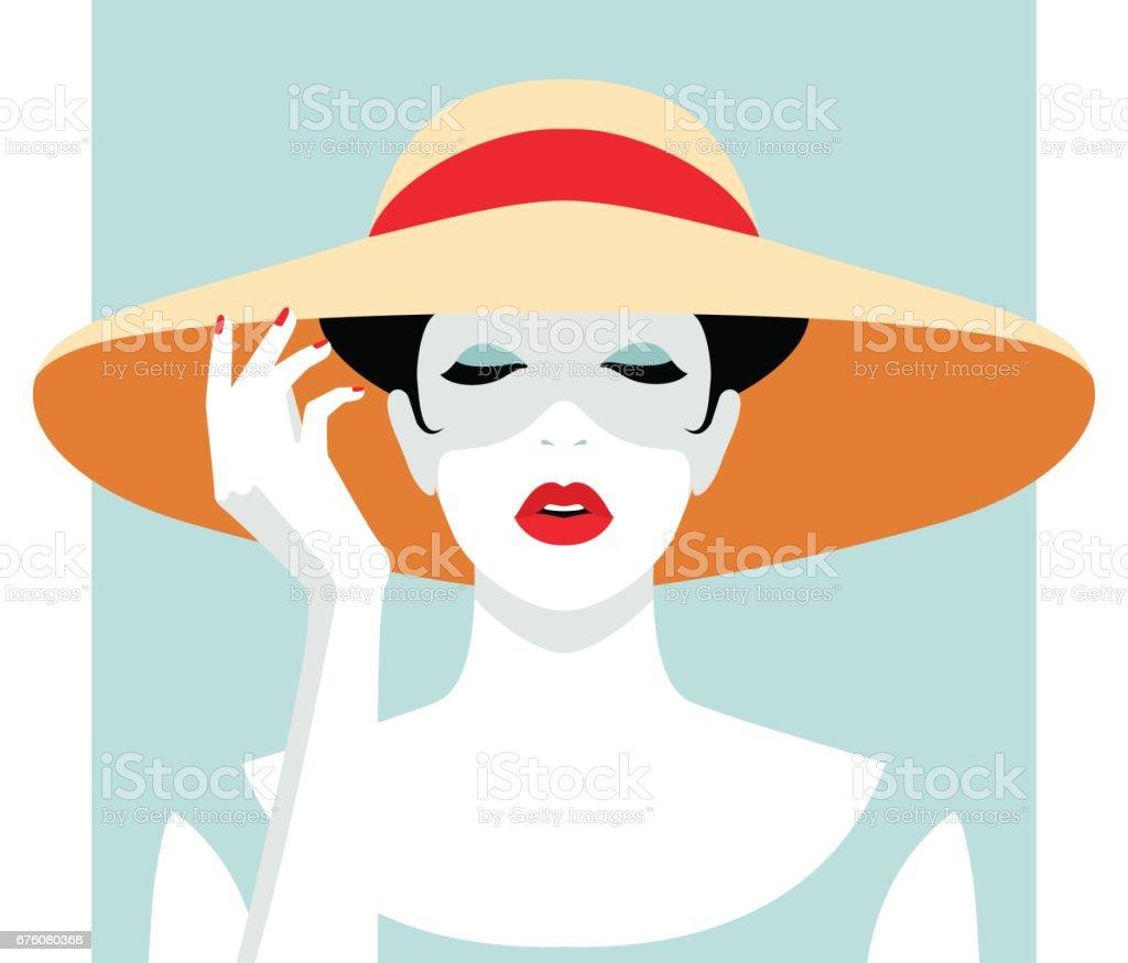 Woman wearing big hat vector art illustration