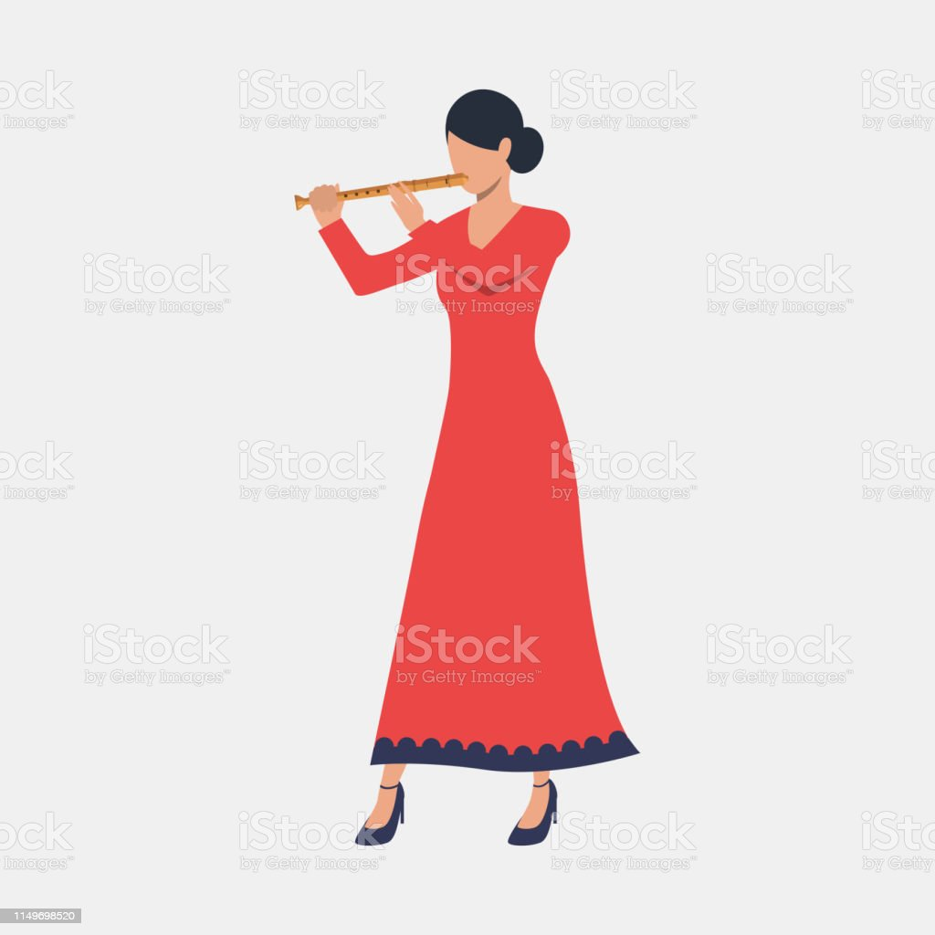 Woman wearing dress and playing flute
