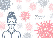 Coronavirus background. Young Woman Wearing Face Mask.