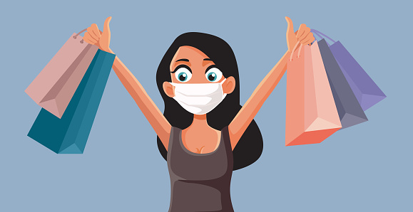 Woman Wearing Face Mask Shopping Safely