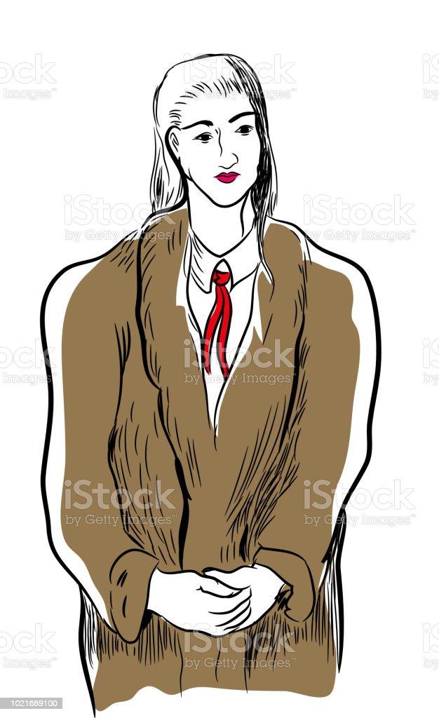kadın giyiyor kürk manto. vektör sanat illüstrasyonu