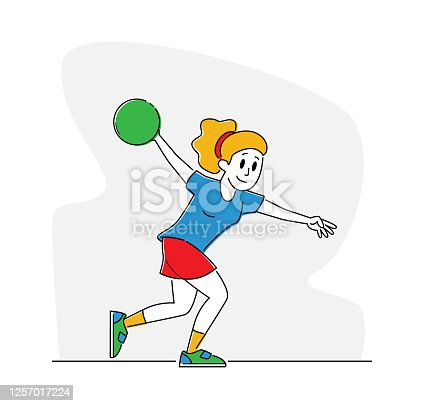 istock Woman Wearing Glove and Shoes Spend Time in Bowling Club on Weekend, Relaxed Sparetime. Female Character Playing Bowling 1257017224