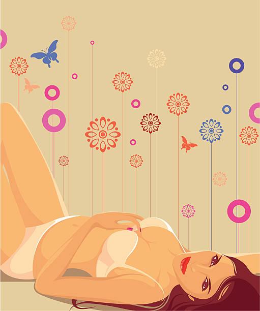 Kobieta w jej Bielizna leżącej w sexy stwarzają. – artystyczna grafika wektorowa