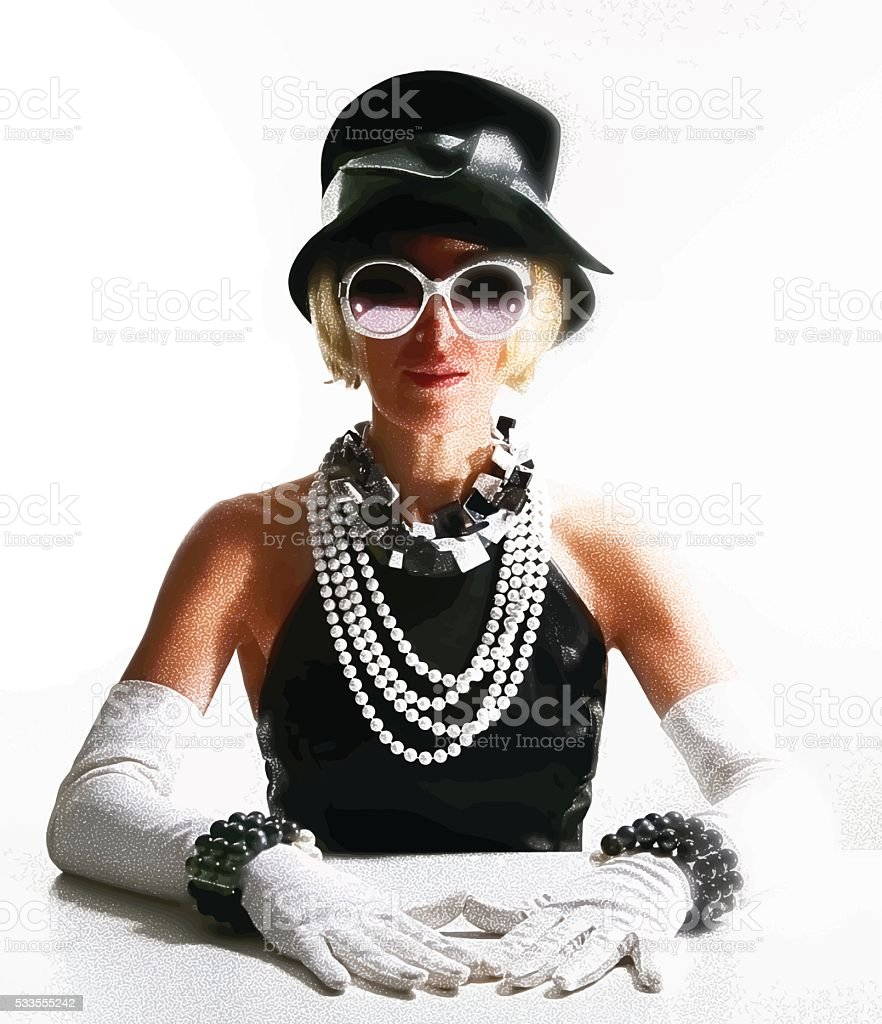 Woman wearing high end vintage fashion vector art illustration