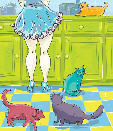 Woman wearing high heel shoes in the kitchen with cats