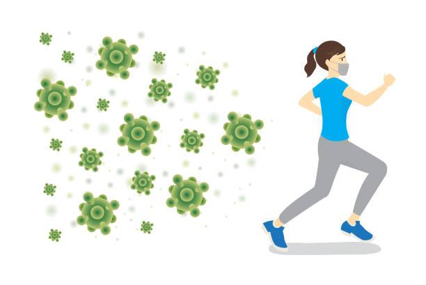 Woman wearing hygiene mask run away from virus that follow. vector art illustration