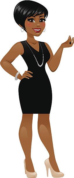 woman wearing little black dress - heyheydesigns stock illustrations