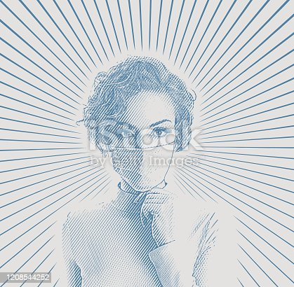 Engraving vector of a young woman wearing protective face mask to avoid virus