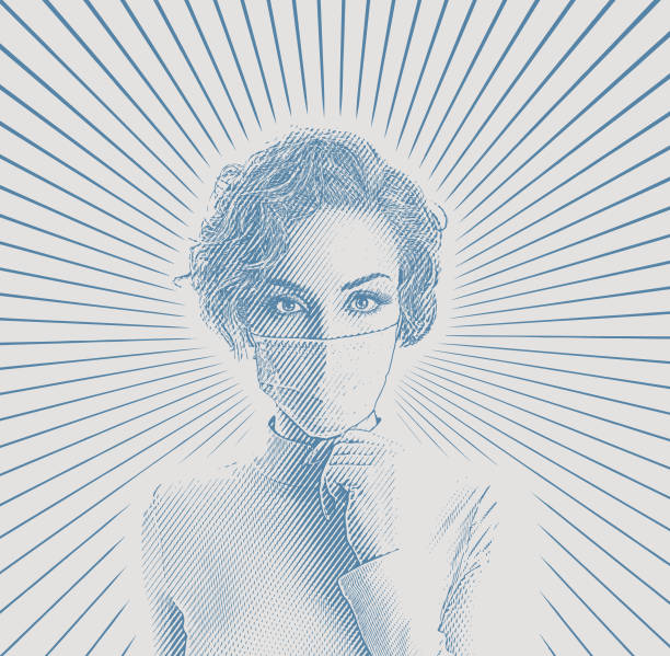 Woman wearing protective face mask to avoid virus Engraving vector of a young woman wearing protective face mask to avoid virus desaturated stock illustrations